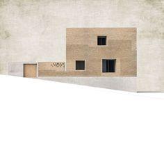 Alzado lateral. Can Jordi i n´Àfrica por TEd´A arquitectes.