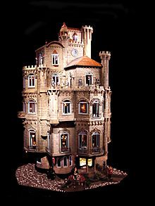 Exterior of the Astolat Dollhouse Castle, built between 1976 and 1986 in USA. Currently appraised at more than $1.1 million, the Astolat Castle Dollhouse stands nine feet tall, weighs in at more than 600 pounds and the dollhouse and all the miniatures are completely handmade. The inspiration for the dollhouse according to creator Elaine Diehl was Idylls of the King, a poem by Lord Alfred Tennyson.