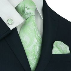 Silver and Mint Green Paisley Necktie Set JPM146 – Toramon Necktie Company