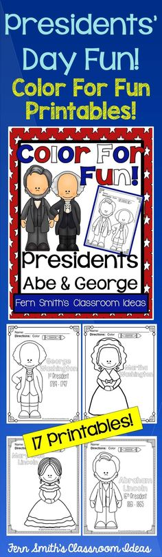 #Presidents Presidents' Day Fun! Presidents Color For Fun Printable Coloring Pages - Abe and George! #TpT #FernSmithsClassroomIdeas $paid