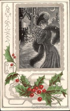 Ps hello card examples greeting card industry pinterest an american gilded age fashionable lady outside of church a merry christmas greeting postcard m4hsunfo