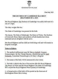 Prince George's Birth Announcement by Kensington Palace