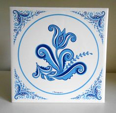 Vintage Berggren Originals Blue White Flower Floral Swedish Scroll Kitchen Ceramic Tile Wall Hanging Trivet Excellent Condition: No cracks, chips, or breaks Bright and Vibrant Colors Thank you for stopping by, any questions? Scandinavian Dinnerware, Scandinavian Tile, Folk Art Flowers, Russian Folk Art, Floor Art, Art Furniture, White Flowers, Screen Printing, Vibrant Colors