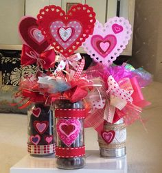 Learn how to make easy Valentines Gifts in a Jar for your boyfriend, girlfriend or coworker. You can buy all the supplies you need at your local dollar store for these budget friendly presents Valentines Day Baskets, Valentines Day Decorations, Mothers Day Crafts, Valentine Day Crafts, Pinterest Valentines, Valentine Bouquet, Jar Gifts, Candy Gifts, Valentine's Day Diy