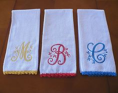 Monogrammed Dish Towel Monogrammed Kitchen Towel by ccampbell0509