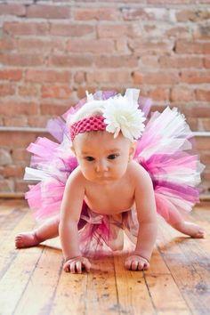 Posh Collection Pink Purple and Ivory Tutu with Matching Daisy Headband baby tutu PInk tutu Newborn tutu Photography prop