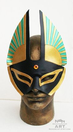 Handmade Warrior Fantasy Party Costume Egyptian Cat Mask in green and gold