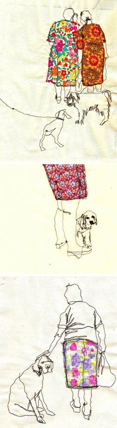 women and dogs, embroidery by Sarah Walton