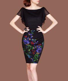 2014 Spring Office Wearing Elegant Vintage Dress Ruffle Batwing Short Sleeve Dresses Retro Dots Black Dress F92 on Etsy, $98.00