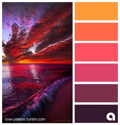 Warm colors evoke happiness - find color inspiration for next design project! Color Schemes Colour Palettes, Colour Pallette, Color Palate, Color Combos, Sunset Color Palette, Sunset Colors, Pantone, Color Harmony, Colour Board