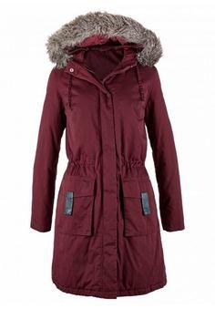 Geci de iarna de dama ieftine: Geaca parka rosu artar cu gluga BPC School Outfits, Canada Goose Jackets, Indigo, Raincoat, Womens Fashion, Clothes, Lilac, Cowl, Cotton