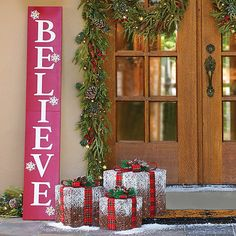 Improvements Believe Wooden Sign Lighted Christmas Decor ($60) ❤ liked on Polyvore featuring home, home decor, holiday decorations, christmas entryway, christmas porch decorations, indoor christmas decoration, indoor/outdoor decorations, wooden signs, holiday signs and christmas home decor