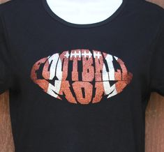 Women's Glitter Bling Football Mom shirt by RedheadedMonkeys, $23.00