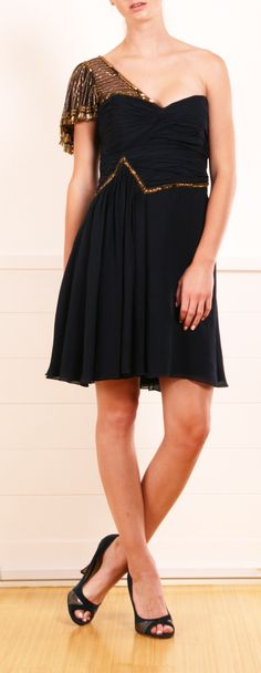 Temperly London Navy Chiffon One-Shoulder Dress with Embellishments