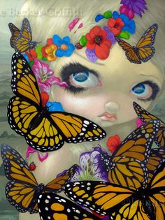 Tara butterfly fairy big eye lowbrow fantasy art by strangeling, $29.99