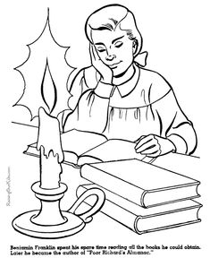 free printable benjamin franklin coloring page for kid 014