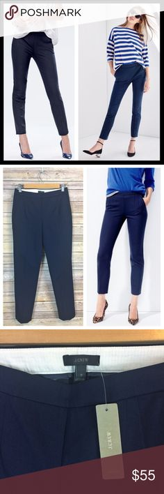 """j. crew // NWT navy blue cotton martie pants If you liked the Minnie, you're going to love the Martie. Higher waist + cropped length = legs for miles. Even better: This pair of pants goes with just about everything. Cotton/viscose/elastane. Side zip. Slant pockets, back welt pockets. Machine wash. Sits just above hip. Fitted through hip and thigh, with a slim, cropped leg. 26"""" inseam. Brand new with tags. Color is navy blue. J. Crew Pants Ankle & Cropped"""