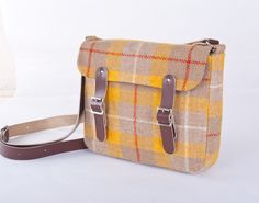 Harris Tweed Leather Yellow Plaid Mini Satchel for iPad or Laptop. £95.00, via Etsy.