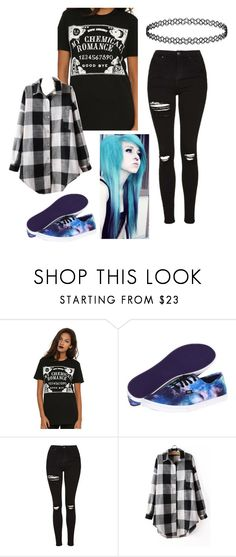 """My Chemical Romance"" by phanicatthedestiel ❤ liked on Polyvore featuring Vans, Topshop, emo, scene and mychemicalromance"