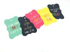 Teacher tags - Bright and Beautiful - Personalise and order online at www.macaroon.co.za