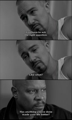 American History X (1998) Very graphic movie about how hate can impact a family or influence others. Starring Edward Norton and Edward Furlong as Derek and Danny Vinyard.