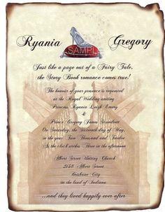 fairytale wedding invitation wording Very cute fitting if the