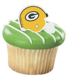 NFL Green Bay Packers Football Helmet Cupcake Rings  24 pcs