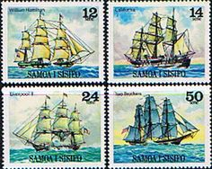 Samoa 1977 1979 Sailing Ships Set Fine Mint SG Scott Other South Pacific and British Commonwealth Stamps HERE! Christopher Cross, Tall Ships, South Pacific, Stamp Collecting, Postage Stamps, Sailing Ships, Mint, Canvas, Commonwealth