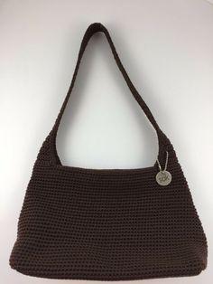 The Sak Black Brown Crochet Knit Purse Shoulder Bag Handmade Woven Handbag   fashion  clothing  shoes  accessories  womensbagshandbags (ebay link) 5e4962f4a04a7