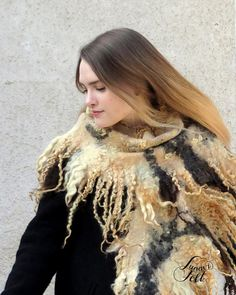 Your place to buy and sell all things handmade Nuno Felt Scarf, Felted Scarf, Cozy Winter Outfits, Nuno Felting, Boho Outfits, Hand Warmers, Warm And Cozy, Wool Felt, Animal Prints