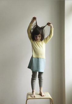 FUB winter 2013 a great bi-colour retro style knitted dress for girls, so wasy to wear in easy to wash Merino wool.
