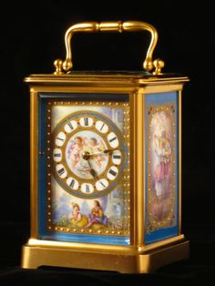 Carriage clock with four porcelain panels. French, circa 1890 http://www.pinterest.com/cato1224/19th-century-carriage-clocks/