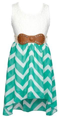 Just Kids Lace Top Chevron Chiffon Hi-Low Dress