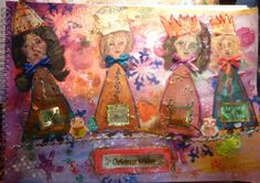Inspired by a free tutorial from Ady Almanza here http://adrianaalmanza.blogspot.de/p/monthly.html  my girls are not as good, too much collage on the page to work on the faces, lots of glitter and bling for a Christmas Journal Page.