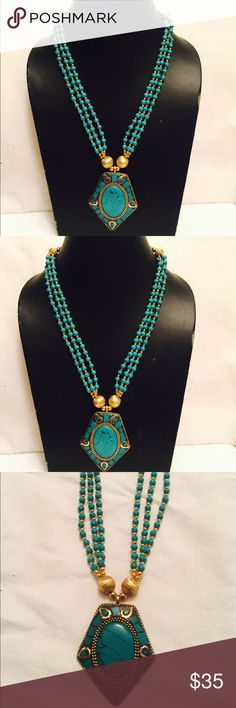 Handmade tibetan turquoise pendent necklace. A beautifully designed Tibetan jewellery, brings an art of elegance. The perfectness and attractiveness of its natural quality adds to rare beauty, making ideal for all ages. himalayan necklace Jewelry Necklaces