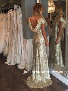 Gold Sequined Mermaid Prom Dresses Jewel Backless Party Gowns Long Women Formal Evening Dress sold by June-Bride. Backless Bridesmaid Dress, Sequin Bridesmaid Dresses, Prom Dresses With Sleeves, Mermaid Prom Dresses, Gold Glitter Bridesmaid Dresses, Gold Evening Dresses, Evening Gowns, Perfect Wedding Dress, Party Gowns