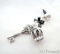 Crown and key iPhone dust plug charm, Gothic earphone jack charm, dark Princess phone charm