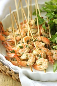 Grilled Lemon Basil Shrimp Skewers - Summer Appetizer  http://jennysteffens.blogspot.com/2012/06/lemon-basil-grilled-shrimp-kebabs.html