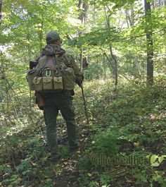 Bushcraft Ruck Gillie'd using Vintage Swedish M-39 Frame and Body, German Side pockets, WW2 BAR Bandolier, Swiss Army shoulder strap leather for connecting to the frame. Bugoutbag, SHTF, EDC, Survival Gear, Hunting gear, #militarystyle #bushcraft - By Gillie Leather