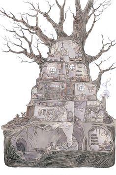 new ideas tree house illustration ideas Art And Illustration, Building Illustration, Illustrations, Fantasy Places, Fantasy Map, Fantasy World, Fantasy Kunst, Dungeon Maps, Fantasy House