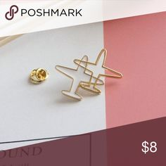 """Interlocking White and Gold Airplanes Pin Brooch This gold brooch includes two interlocking airplanes - one solid white and one cutout gold as pictured. Includes a safety pin backing for secure fit. Versatile, for an added touch to adorn sweaters, cardigans, pouches or backpack. The sky's the limit. Wear one, or all four :)   Other brooches available on my site. Also comes in solid blue and red.  Airplane brooch measures approximately 1.75"""" in length x 1.5"""" in width…"""