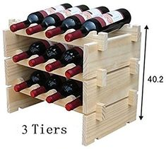 4 Tiers Stackable STRONG Wooden Wines Rack Holds Storage Stand Unit 16 Bottle Capacity: Amazon.co.uk: DIY & Tools