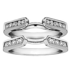 Sterling Silver 1ct Cubic Zirconia Solitaire Wedding Ring and Classic Guard Set (Sterling Silver, Size 11), Women's, White