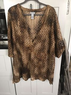 Catherine s Brown Gold women s plus size Pullover Knit Top Size 1x  fashion   clothing ec074aa03