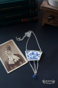 OOAK Broken china jewelry. Broken china necklace. Vintage necklace jewelry. Blue and white flowers. Soldered necklace jewelry - pinned by pin4etsy.com