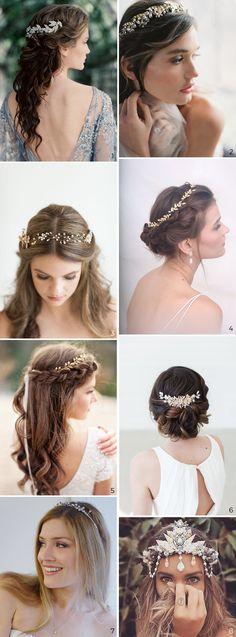 Wedding Hairstyles: 5 Unavoidable Trends. 8 examples of bridal Hair Jewellery.