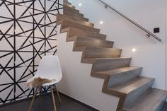 moderne hal met z trap in NEWstairs Oak vintage Hygge, Conception 3d, Open Trap, Decoration, Stairs, Vintage, Rvs, Home Decor, Railings