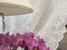 Excited to share the latest addition to my shop: JASMIN - A beautifully embroidered sheer lace curtain panel (net voile) in a pretty floral design in soft cream or white