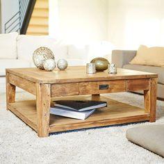 Table basse carrée en bois de TECK RECYCLE 100cm GARDENANDCO | La Redoute Mobile
