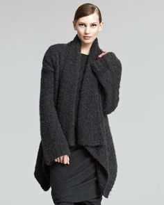 Cashmere Boucle Knit Cardigan, Charcoal by Donna Karan at Bergdorf Goodman.
